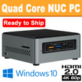 Intel Quad Core NUC PC, 4GB, 128GB SSD, Wifi, Bluetooth, Windows 10 Home, Ready to Ship [NUC6CAYH-RTS]