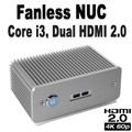 Fanless 7th Gen NUC Core i3 PC, 4GB DDR4, 128GB SSD, 2x HDMI 2.0 [D7NU1-i3]