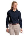 Associate LONG Sleeve TWILL Shirt - LADIES - Navy w/sleeve XEX logos