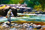 This print depicts a fisherman on a bright summer day washed in the colors of a beautiful trout stream.  All of Dean's wildlife and nature watercolor paintings strive to capture the essence the subject whether it is a fish, bird or animal or landscape. His unique style aims to depict a subject in a way the viewer has never seen before in a watercolor painting.