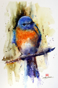 This print depicts an eastern bluebird splahed with the colors of a warm sunny day.  All of Dean's wildlife and nature watercolor paintings strive to capture the essence the subject whether it is a fish, bird or animal or landscape. His unique style aims to depict a subject in a way the viewer has never seen before in a watercolor painting.