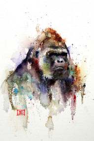 """Silverback"" art from an original gorilla watercolor painting by Dean Crouser. Available in a variety of products including giclee prints, ceramic tiles and coasters, greeting cards and more. Signed and numbered prints limited to edition size of 400 prints."