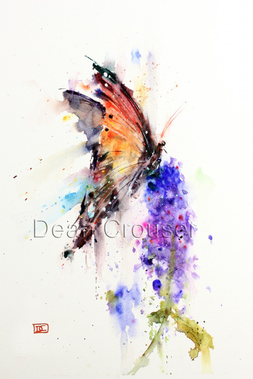 """MONARCH"" limited edition signed and numbered butterfly on a flower print from an original watercolor painting by Dean Crouser. The butterfly art print is signed and numbered by the artist, and the edition is limited to 400 prints. This watercolor painting depicts one of Dean Crouser's loose and colorful butterflies landing on a flower in a garden during the summer. Be sure to visit Dean's other hummingbird, bird, wildlife, and nature watercolor paintings."