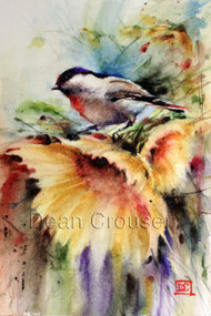 """SUNNY DAY"" limited edition chickadee and sunflower art from an original watercolor painting by Dean Crouser. This watercolor painting depicts one of Dean Crouser's loose and colorful chickadee songbirds sitting atop a bright sunflower. in motion. Available in a variety of products including ceramic tiles and coasters, greeting cards, limited edition prints and more. L/E prints are signed and numbered by the artist and edition size limited to 400. Be sure to visit Dean's other hummingbird, bird, wildlife, and nature watercolor paintings."