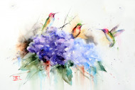 """FEATHERED FRIENDS"" limited edition hummingbird and flower art from an original watercolor painting by Dean Crouser. This watercolor painting depicts three of Dean Crouser's loose and colorful hummingbirds landing atop a hydrangea  flower. Available in a variety of products including ceramic tiles and coasters, greeting cards, limited edition prints and more. L/E prints are signed and numbered by the artist and edition size limited to 400. Be sure to visit Dean's other hummingbird, bird, wildlife, and nature watercolor paintings."