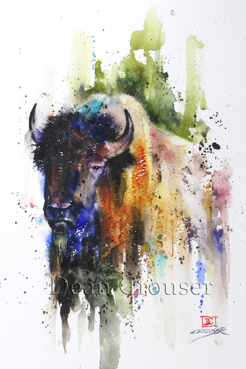 """Buffalo"" from an original bison watercolor painting by Dean Crouser. Available in a variety of products including giclee prints, ceramic tiles and coasters, greeting cards and more. Signed and numbered prints limited to edition size of 400 prints."