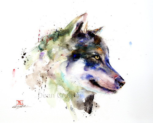 This print tries to capture the impressive character of the timber wolf.  All of Dean's wildlife and nature watercolor paintings strive to capture the essence the subject whether it is a fish, bird or animal or landscape. His unique style aims to depict a subject in a way the viewer has never seen before in a watercolor painting.