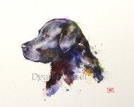 This print depicts a hard working black labrador retriever at the end of a long day.  All of Dean's wildlife and nature watercolor paintings strive to capture the essence the subject whether it is a fish, bird or animal or landscape. His unique style aims to depict a subject in a way the viewer has never seen before in a watercolor painting.