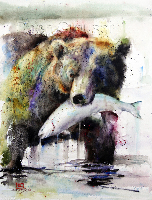 This print depicts a brown bear chomping on a freshly caught salmon.  All of Dean's wildlife and nature watercolor paintings strive to capture the essence the subject whether it is a fish, bird or animal. His unique style aims to depict a subject in a way the viewer has never seen before in a watercolor painting.
