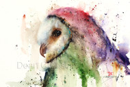 """BARNEY"" limited edition signed and numbered barn owl bird print from an original watercolor painting by Dean Crouser. Edition limited to 400 prints."