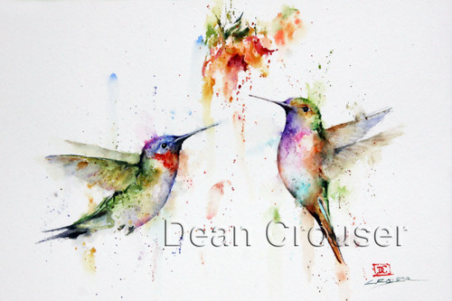 TWO's COMPANY signed and numbered hummingbird print from an original watercolor painting by Dean Crouser. Edition limited to 400 prints.