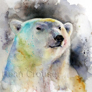 POLAR BEAR signed and numbered bear print from an original watercolor painting by Dean Crouser. Edition limited to 400 prints.