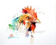CHICKEN signed and numbered bird print from an original watercolor painting by Dean Crouser. Edition limited to 400 prints.