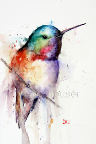 RUBY signed and numbered limited edition hummingbird print from an original watercolor painting by Dean Crouser. Edition limited to 400 prints.