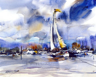 APRIL ON THE COLUMBIA signed and numbered limited edition sail boat from an original watercolor painting by Dean Crouser.