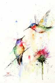 DROPPING IN signed and numbered bird print from an original watercolor painting by Dean Crouser. This painting depicts two little hummingbirds meeting up near a clover flower in Dean's loose, colorful style. Edition limited to 400 prints. Be sure to check out Dean's other nature and wildlife watercolor paintings!