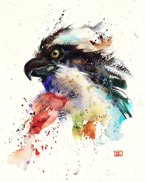 "OSPREY signed and numbered bird print from an original watercolor painting by Dean Crouser. This painting is the 'mate' to Dean's FISH HAWK painting. This painting was done as Dean simply sat down and started laying colors on paper - there was no line drawing or initial plan. He feels that his best work 'just happens"".  Painted in Dean's loose, colorful style. Edition limited to 400 prints. Be sure to check out Dean's other nature and wildlife watercolor paintings!"