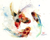 KOI SCHOOL signed and numbered fish print from an original watercolor painting by Dean Crouser. This painting was aimed at capturing the flow and beauty of this fish and the way they move. Lots of color and movement in this one - painted in Dean's loose, colorful style. Edition limited to 400 prints. Be sure to check out Dean's other nature and wildlife watercolor paintings!