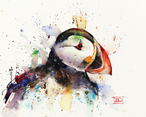 PUFFIN signed and numbered limited edition bird print from an original watercolor painting by Dean Crouser. Edition limited to 400 prints. Please check out Dean's other wildlife and marine animal watercolor art!