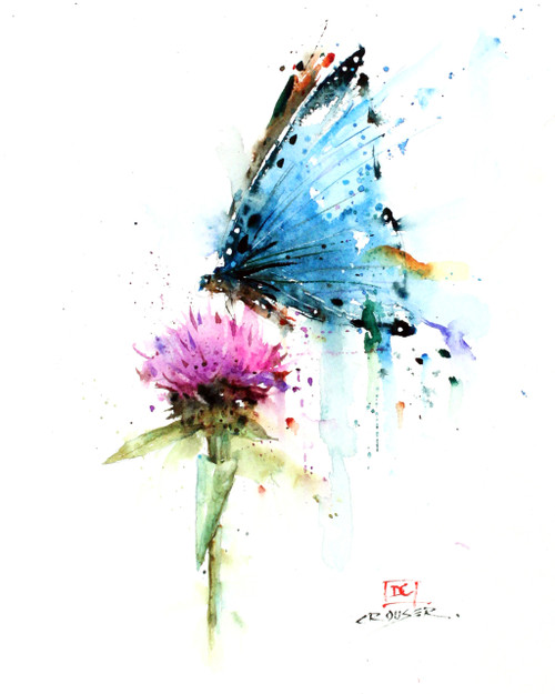 BUTTERFLY & THISTLE signed and numbered limited edition print from an original watercolor painting by Dean Crouser. Edition limited to 400 prints. Please check out Dean's other wildlife and nature watercolor art!