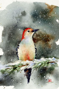WOODPECKER IN SNOW winter bird print.Signed and numbered limited edition print from an original watercolor painting by Dean Crouser. Edition limited to 400 prints. Please check out Dean's other wildlife and nature watercolor art!