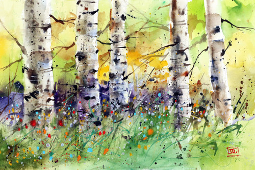 SPRING TREES limited edition print from an original painting by Dean Crouser. Scene depicts birch trees and wildflowers in the colors of spring. Signed and numbered, edition limited to 400 prints.