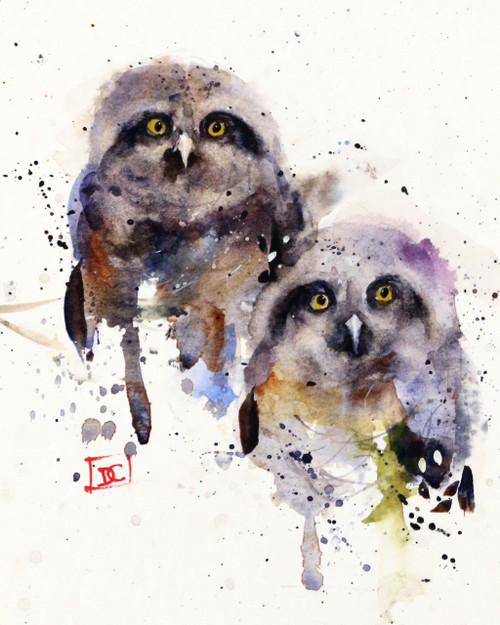 OWLETS signed and numbered limited edition bird print from an original watercolor painting by Dean Crouser. Painting depicts two fuzzy baby owls using lots of color and paint movement. Signed and numbered by the artist, edition limited to 400 prints. Be sure to see all of Dean's animal and wildlife paintings!