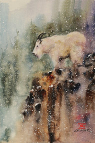 MOUNTAIN GOAT wildlife print from an original watercolor painting by Dean Crouser. This Mountain Goat giclee' print is a limited edition and will be signed and numbered by the artist. Edition size limited to 400 prints. The scene depicts a mountain goat perched on a rocky outcropping in winter with a light snow beginning to fall. Be sure to visit Dean's other watercolor art depicting nature, birds, fish animals and wildlife of all kinds.