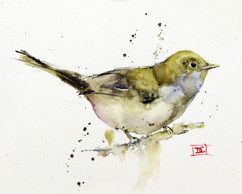 """LITTLE WHISTLER"" limited edition giclee' bird print from an original watercolor painting by Dean Crouser. This painting depicts a little songbird perched on a branch and was painted with a limited pallets which Dean felt left a clear, simple result. This bird print is a limited edition and is signed and numbered by the artist. Edition is limited to 400 prints. Please visit Dean's other bird, hummingbird and nature watercolor prints and paintings."