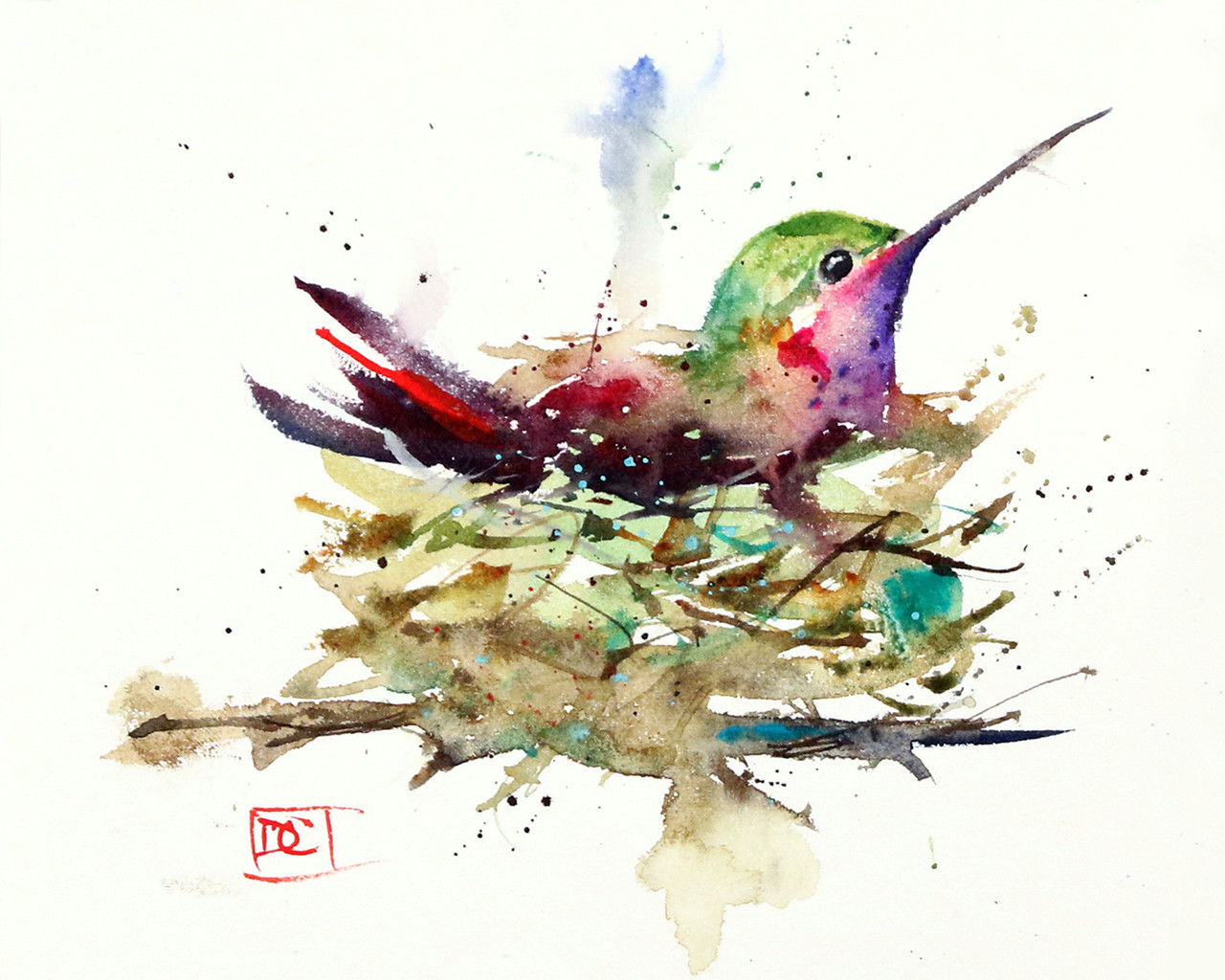 Hummingbird Watercolor Print Painting By Dean Crouser