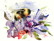 'NECTAR' limited edition giclee' print from an original watercolor painting by Dean Crouser. Painting depicts a bumblebee nestled into a big, luscious flower for lunch. Print will be signed and numbered by the artist, edition limited to 400 prints.