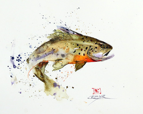 """""""JUMPING TROUT"""" signed and numbered limited edition giclee' print from an original watercolor painting by Dean Crouser. Signed and numbered, edition limited to 400 prints. Also available in tiles, coasters, cutting boards and more."""