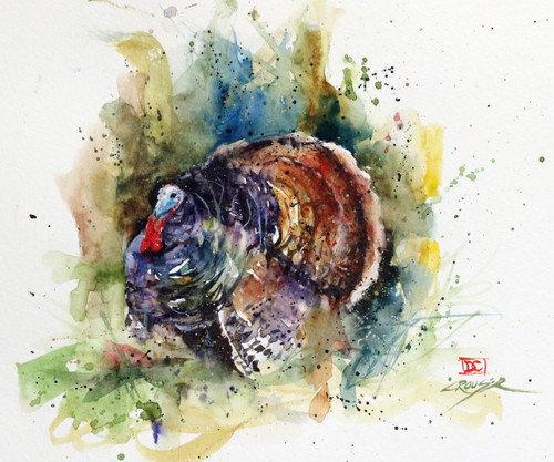 """""""WILD TURKEY"""" original watercolor painting by Dean Crouser. Measures approximately 7-1/2"""" tall by 9"""" wide. here's a great opportunity to own a DC original! Artist retains all rights to future use of this painting."""