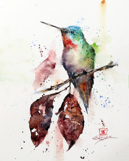 """AUTUMN HUMMER"" is one of Dean's newest hummingbird watercolor paintings. It depicts a little hummer perched above two dried autumn leaves knowing that winter is just around the corner. Available in a variety of items from limited edition prints, ceramic tiles, coasters and greeting cards. Ltd edition prints are signed and numbered and edition limited to 400 prints."