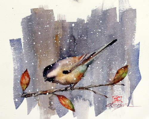"""""""SNOW BIRD""""  depicts a chickadee perched above a few autumn leaves as the season's first snowflakes begin to fall. Available in a variety of items from limited edition prints, ceramic tiles, coasters and greeting cards. Ltd edition prints are signed and numbered and edition limited to 400 prints."""