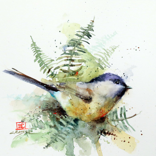 """CHICKADEE & FERNS"" is one of Dean's newest bird and botanical paintings. It depicts a chickadee nestled into a small cluster of fernsl. Available in a variety of items from limited edition prints, ceramic tiles, coasters and greeting cards. Ltd edition prints are signed and numbered and edition limited to 400 prints."