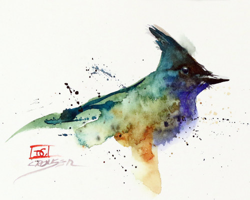 """""""BLUE JAY, Sketch"""" bird art from an original watercolor painting by Dean Crouser. Available in a variety of products including signed and numbered limited edition prints, ceramic tiles, greeting cards and more!"""