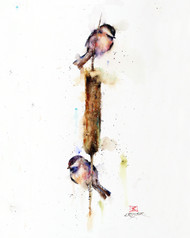 """CATTAIL CONVERSATIONS"" chickadee bird art from an original watercolor painting by Dean Crouser. Available in a variety of products including signed and numbered limited edition prints, ceramic tiles, greeting cards and more!"