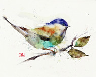 """CHICKADEE on BRANCH"" bird art from an original watercolor painting by Dean Crouser. Available in a variety of products including signed and numbered limited edition prints, ceramic tiles, greeting cards and more!"