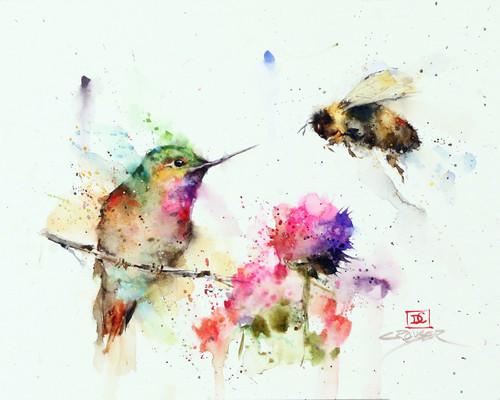 """GARDEN VISITORS"" hummingbird and bee from an original watercolor painting by Dean Crouser. Available in a variety of products including signed and numbered limited edition prints, ceramic tiles, greeting cards and more!"