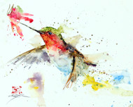 """HUMMER & FLOWER"" hummingbird art from an original watercolor painting by Dean Crouser. Available in a variety of products including signed and numbered limited edition prints, ceramic tiles, greeting cards and more!"