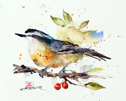 """NUTHATCH & BERRIES"" bird art from an original watercolor painting by Dean Crouser. Available in a variety of products including signed and numbered limited edition prints, ceramic tiles, greeting cards and more!"