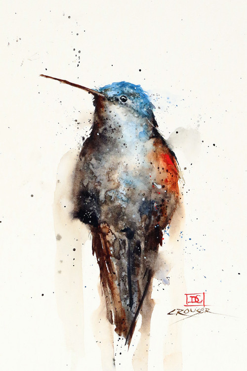 """SAPPHIRE"" hummingbirdbird art from an original watercolor painting by Dean Crouser. Available in a variety of products including signed and numbered limited edition prints, ceramic tiles, greeting cards and more!"