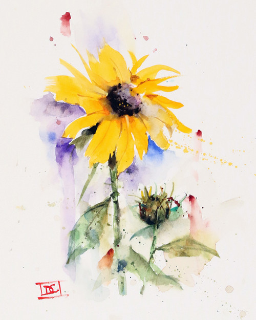 """SUNFLOWER & BUD"" flower art from an original watercolor painting by Dean Crouser. Available in a variety of products including signed and numbered limited edition prints, ceramic tiles, greeting cards and more!"