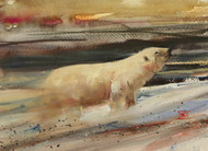 """INTO THE FRONT"" polar bear art by Dean Crouser. This painting depicts a polar bear heading into the oncoming wind. Available in a variety of products including signed and numbered prints, tiles, coasters and greeting cards. The giclee' prints are limited to edition size of 400 prints."