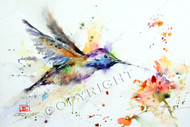 This print depicts a hungry hummingbird approaching a colorful nearby flower. All of Dean's wildlife and nature watercolor paintings strive to capture the essence the subject whether it is a fish, bird or animal. His unique style aims to depict a subject in a way the viewer has never seen before. Loose, spontaneous with lots of color.
