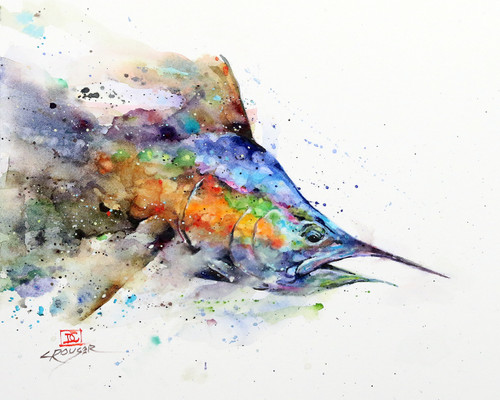 """""""MARLIN"""" fish art from an original watercolor painting by Dean Crouser. This image features one of Dean Crouser's loose and colorful marlins erupting from the water Available in a variety of products including ceramic tiles and coasters, greeting cards, limited edition prints and more. L/E prints are signed and numbered by the artist and edition size limited to 400. Be sure to visit Dean's other hummingbird, bird, wildlife, and nature watercolor paintings."""