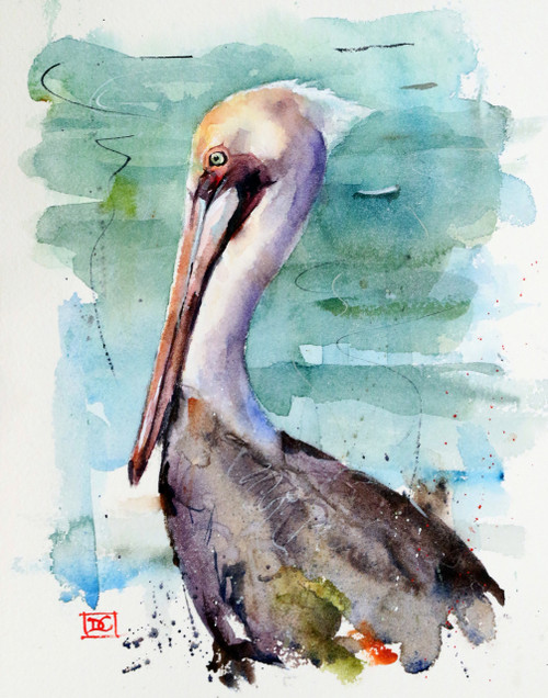 """PELICAN"" original watercolor painting by Dean Crouser. This original painting measures approximately 8"" wide by 11"" tall. Artist retains all rights to future use of this painting.  Here's a chance to own a DC original - enjoy!"
