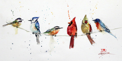 """BIRDS ON A WIRE"" limited edition songbird art from an original watercolor painting by Dean Crouser. This image features several of Dean Crouser's loose and colorful birds perched atop a wire. Available in a variety of products including ceramic tiles and coasters, greeting cards, limited edition prints and more. L/E prints are signed and numbered by the artist and edition size limited to 400. Be sure to visit Dean's other hummingbird, bird, wildlife, and nature watercolor paintings."