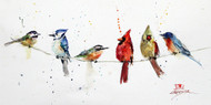 """BIRDS ON A WIRE"" bird art from an original watercolor painting by Dean Crouser. Available in a variety of options including signed and numbered giclee' prints (limited edition to 400 prints), ceramic tiles and coasters, greeting cards and more."